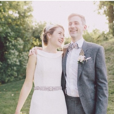 A wonderful picture of our real bride Laura wearing one of Sheila Harding London - Harmony Collection pieces